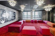 Finnkino offices by Gullstén-Inkinen Design & Architecture, Helsinki – Finland Office Interior Design, Office Interiors, Office Workspace, Office Decor, Helsinki, Red Space, Concrete Design, Lounge Areas, White Furniture