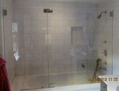 Image result for frameless tub shower combo with window