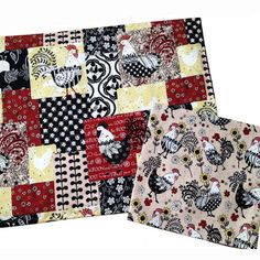 Farm House Décor, Rooster Placemats and Napkins,  Set of 6 Placemats and Napkins