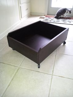 Habitat Restore love! Added $4 casters to $2 Ikea drawers to make under bed roll out storage. Total $6 each. Made 6 of them. Such organization & easy access for toys, books, slippers, etc.