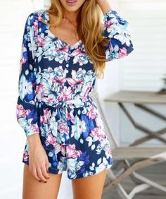 ebc66ea7d88 ON SALE PRINTING A V-NECK SEXY LONG-SLEEVED CONJOINED PANTS OF THE  CULTIVATE ONE S MORALITY · Floral Romper Long SleevePennePlaysuitSpring ...