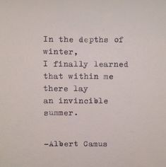 Albert Camus Handtyped Quote