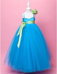 Light Blue Flower Girls Dresses Tulle Spaghetti Straps Empire Long Floor Length With Sash Real Picture Formal Spring Kids Vintage Dress Gown