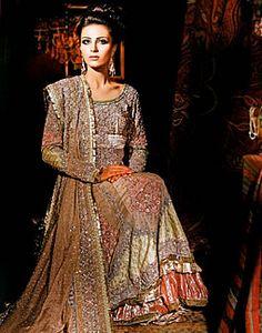 Latest Pakistani Bridal Wear Deep Red Shirt Sharara BC 37