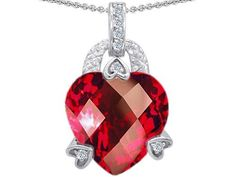 $64.98 Original Star K(tm) Large 13mm Heart Shaped Created Ruby Designer Pendant in .925 Sterling Silver Star K #necklace #gifts