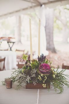 Bohemian-Chic Wedding in South Carolina, Low Wooden Centerpiece with Flowers and Greenery   Brides.com