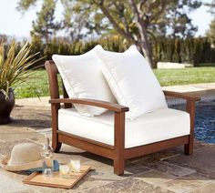 Shop Pottery Barn for durable and stylish wooden outdoor furniture. Browse our Chatham Outdoor Collection and find dining tables, chairs and sofas, perfect for any patio. Kitchen Chairs For Sale, Low Beach Chairs, New Furniture, Outdoor Furniture, Furniture Ideas, Work Chair, Lounge Seating, Outdoor Chairs, Outdoor Spaces