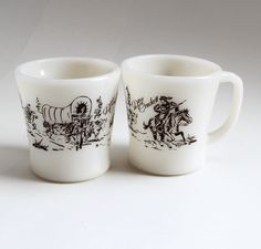 SO totally WANT these!  Davy Crockett, Fire King Milk Glass Mugs - Set of 2