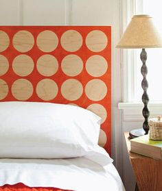 headboard... you could take boards and put vinyl or contact paper circles over top and then spray paint and remove... very cool