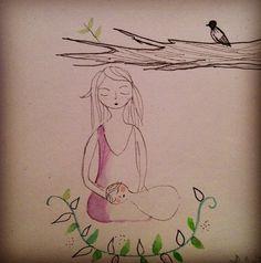 """""""Silence""""(c)AP/2013 Aquarelle, feutre et stylo"""