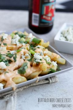 Buffalo Beer Cheese Fries From Bake Your Day  http://recipesjust4u.com/buffalo-beer-cheese-fries/