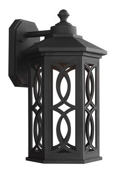 Ormsby Large LED Outdoor Wall Lantern by Sea Gull: Brings modern technology to a traditional style. The sophisticated Black with etched glass panels on this design will be sure to bring a classic touch outdoors. Made from die-cast aluminum, this outdoor fixture is able to withstand extreme weather conditions. Perfect for your front or back porch.