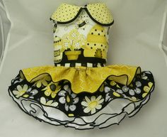 Small dog harness dress. Tutu 5 layer skirt. Busy Bee by poshdog, $60.00