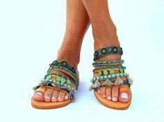 Sesami Colorful Sandals slip on  sandals Greek Sandals