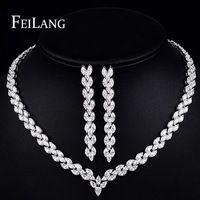 Feilang clásico joyería fija la boda incluyendo CZ cuelga los pendientes y chapado en oro gargantilla collar de collar de novia ( FSSP158 )