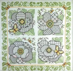 Four Blackwork Flowers - cross stitch pattern by Lesley Teare - Four stylised flowers with a leafy green border and yellow butterflies. Geek Cross Stitch, Cross Stitch Charts, Cross Stitch Patterns, Blackwork Cross Stitch, Blackwork Embroidery, Christmas Embroidery Patterns, Embroidery Flowers Pattern, Subversive Cross Stitches, Blackwork Patterns