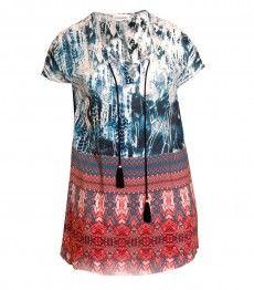 Chalou ❤ Sommer Tunika Damen lang kurzarm große Größen kaufen ad6778815c