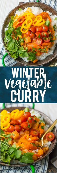 This WINTER VEGETABLE CURRY is the perfect fresh and light vegetarian meal for these cooler temps! Just the right amount of spice and all the colors of the rainbow make up this meal inspired by Indian flavors that the entire family will devour. Great for meal planning! #curry #spicy #healthy #vegetarian #vegetables #rice #mealplanning #winter via @beckygallhardin New Easy Recipe, Fun Easy Recipes, Easy Meals, Healthy Dinners, Popular Recipes, Delicious Recipes, Vegetarian Recepies, Healthy Chicken Recipes, Vegetarian Lunch