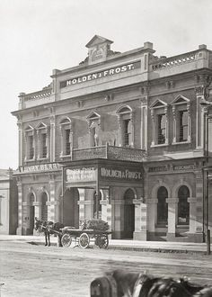 Holden & Frost, Grenfell St, Adelaide, SA, 1907 - James Holden immigrated from Staffordshire in 1852 and began a saddlery/leather goods business in King William St in 1856 (near Beehive Cnr). They became Holden & Frost in 1885 when Henry Frost became a junior partner. In the mid-1880s expanded their small-scale ironmongery to repairing and building horse-drawn carriages. In 1913, started production of motorcycle sidecars, then building first car body in 1914. The building was demolished in…