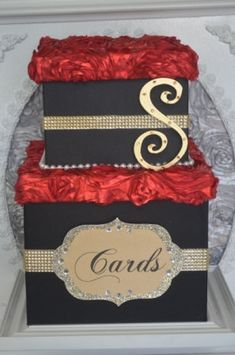 Old Hollywood Wedding gift box Gold black and by ForeverLoveNotes, $120.00