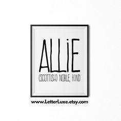Theo name definition printable nursery wall art babies allie name meaning art printable baby shower gift nursery printable art digital print nursery decor typography wall decor negle Images