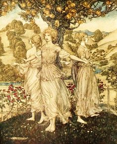 Arthur Rackham ~ Frontispiece: All Amidst the Gardens Fair Of Hesperus, and His Daughters Three That Sing About the Golden Tree