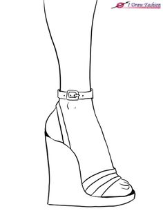 How to draw wedges in fashion design sketches tutorial step 7 Dress Design Drawing, Dress Design Sketches, Fashion Design Sketchbook, Shoe Sketches, Fashion Illustration Sketches, Fashion Sketches, Couture Heels, Fashion Designing Course, Sketches Tutorial