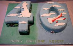 Number 40 Cake Travel. Numerical flying themed number 40 shaped cake