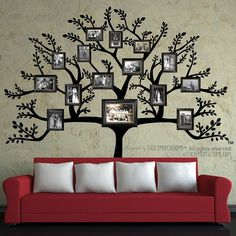 Family Tree Wall Decal Sticker Picture Frame Tree Branch Leaves Leaf Wall Art Home Decor Living Room Family Tree With Pictures, Family Tree Photo, Photo Tree, Hang Pictures, Family Trees, Family Photos, Room Pictures, Picture Tree, Family Tree Wall Decor