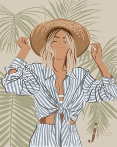 Love this Illustration for a gallery wall! Might get one of myself for my room! The tropical vibes are so refreshing. Illustrations Pop, People Illustration, Portrait Illustration, Digital Illustration, Graphic Illustration, Illustration Fashion, Business Illustration, Fashion Illustrations, Portrait Art