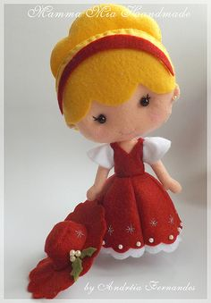 Adorable Cinderella felt doll.