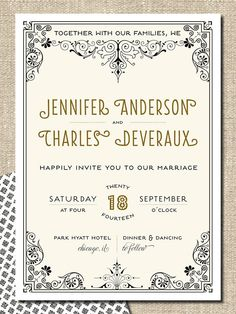 printable DIY wedding invitation suite - JENNIFER. $50.00, via Etsy.