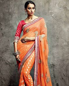 Net Viscose Butti Saree with Blouse Ethnic Fashion, Asian Fashion, Modern Fashion, Indian Dresses, Indian Outfits, Indian Clothes, Meena Bazaar, Designer Sarees Online Shopping, Indian People