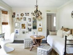 Once a rarely-used formal dining room, this space sees much more action now as an office space for mom and a hangout room for kids. The daybed adds seating and capacity for overnight guests. Photography by Christina Wedge