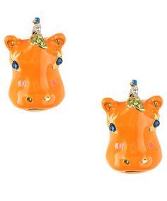 Orange Hippo earrings - $35.00 at betseyjohnson.com