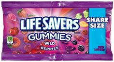 Lifesavers Gummies Wild Berries Share Size Super Store Online Brows Shop Buy at www. Snack Recipes, Snacks, Hard Candy, Life Savers, Store Online, All Brands, Nutritious Meals, Bubble Gum, Pop Tarts