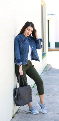 3 Easy and Comfortable Travel Outfits and Ideas  Weekend Style. Denim Jacket. Crop Pants. Olive Crop Pants. Grey Nike Sneakers. Women's Nike. Casual Style. Casual Outfits. Weekend Outfits. Travel Outfits. Airport Style. Comfortable Outfits. Easy Outfits. Easy outfit ideas. Fashion How to's. Affordable Fashion.
