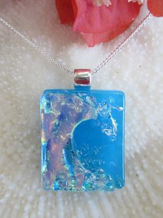Blue dichroic fused glass Surf Wave Pendant