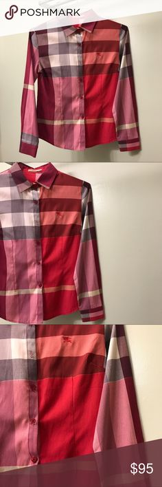 Pink Burberry Dress Shirt Classic Burberry check cotton long sleeve. Pre-loved Burberry shirt, gorgeous long sleeve. I've gotten so many compliments on this blouse. It's indeed beautiful in person. Can't ever go wrong with Burberry 🌹 Burberry Tops Button Down Shirts