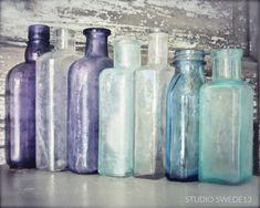 "Items similar to Farmhouse Kitchen Art, Bath Art Print, Apothecary Medicine Bottles, Rustic Farmhouse Decor Bottle Print, Purple Bottle Art ""Medicine Shoppe"" on Etsy Old Glass Bottles, Apothecary Bottles, Painted Wine Bottles, Antique Bottles, Vintage Perfume Bottles, Bottles And Jars, Vintage Glassware, Antique Glass, Decorated Bottles"
