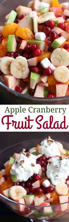 Cranberry Fruit Salad Apple Cranberry Salad is perfect for an easy Thanksgiving side dish everyone will love! Fall Recipes, Holiday Recipes, Cheap Recipes, Christmas Recipes, Apple Cranberry Salad, Fruit Salad Recipes, Fruit Salads, Jello Salads, Fruit Tarts