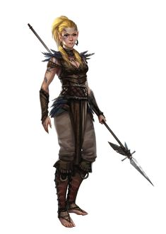 Female Wild Elf Druid or Hunter - Pathfinder PFRPG DND D&D 3.5 5th ed d20 fantasy