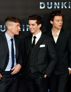 Cillian Murphy, Fionn Whitehead and Harry Styles at the 'Dunkirk' World Premiere in London, July 13th. ""
