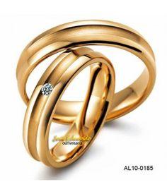 Alianças meia cana com friso largo e diamante 3 pontos AL10-0185 Alianças 780cca7c27