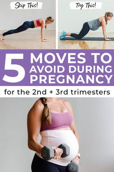 Pregnancy workouts are great for mama and baby, but there are some exercises that should be avoided! I'm sharing 5 exercises to skip during pregnancy, plus 5 pregnancy safe exercises! #fitpregnancy #pregnancyworkouts