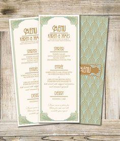Art Deco Printable Wedding Menu 35 x 925 in Dyi by RoseBonBonShop, $14.00