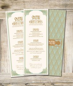 Art Deco Printable Wedding Menu  3,5 x 9,25 in- Dyi Wedding Menu on Etsy, $15.57 AUD
