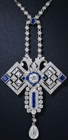 Fabulous diamond and sapphire art deco necklace~