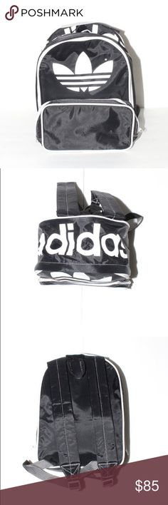 Adidas Mini Backpack Vintage, 90s, classic Adidas black and white mini nylon trefoil backpack featuring two zip-up compartments and adjustable straps in excellent vintage condition. Perfect backpack to take when you're on the go.   Materials 100% nylon  Measurements  Width: 7 inches  Backpack size: 13 inches  Length: adjustable adidas Bags Backpacks