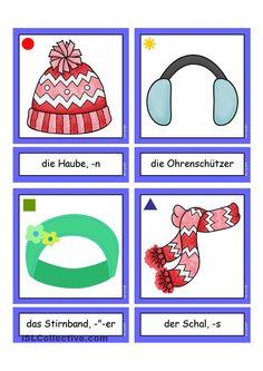Flashcards_ Winterbekleidung _mittel German Language Learning, German Words, Learn German, English Vocabulary, Kindergarten, Winter Outfits, Stencils, Clip Art, Education